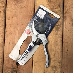 The ratchet pruning shear from Bulldog makes cutting through branches easier with its roll action.