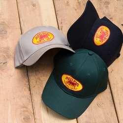 Classic red and gold Red Pig logo hats in cotton and wool blend.