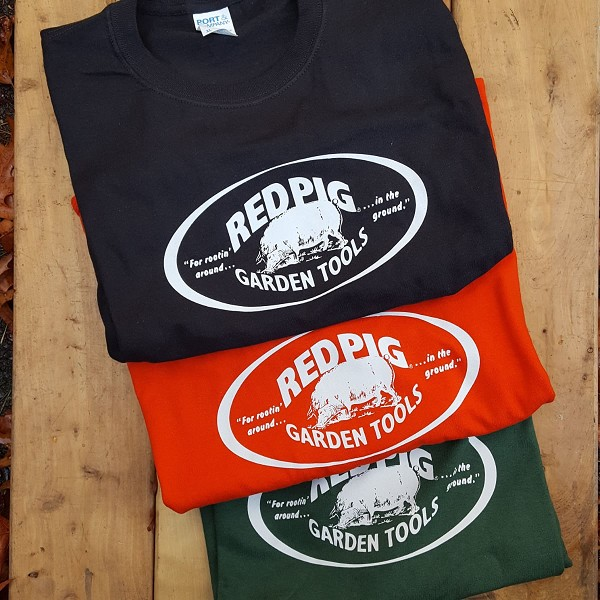 All cotton t-shirts shown here are available in black, bright red, and forest green.